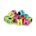 Perles alphabet multicolore 6 mm x 300 pcs