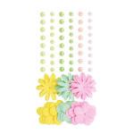 Fleurs en papier et demi-perles Rainbow