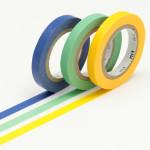 Masking tape uni fins bleu-vert-jaune lot de 3