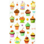 Autocollants relief Cupcakes
