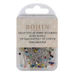 Epingles tête en verre multicolores par 150
